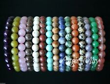 Wholesale Lot* 10 Round GEMSTONE Bead 7 inches Crystal Healing Stretch Bracelets