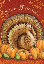 "Give Thanks Beautiful Turkey Harvest Thanksgiving Large House Flag 28"" X 40"""