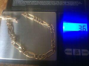 HALLMARKED 9ct GOLD T-BAR BRACELET. SCRAP . NO CLOSING LINK. AS SHOWN