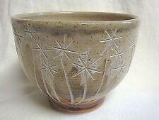 Signed Stoneware Pottery Bowl w/ Dandelion Seed Pattern - So Pretty