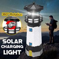 Solar Leuchtturm mit LED Beleuchtung Roter Sand Gartendeko Turm Polyresin