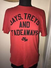 Nike Air red t shirt Jays Treys, And Fadeaways basketball athletic cut M