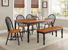 Farmhouse Rectangular Dining Furniture Sets With 6 Pieces ...