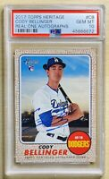 Cody Bellinger 2017 Topps Heritage Auto RC Real One Blue Ink PSA 10 Gem Mint