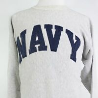 VTG NAVY SEWN ON SPELL OUT CHAMPION REVERSE WEAVE PULLOVER SWEATSHIRT SZ 2XL