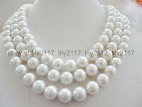 """AA 10mm White South Sea Shell Pearl Round Beads Necklace Long 50"""""""