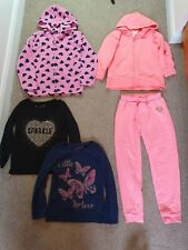 Girls age 5-6 years clothes bundle 5 items 2 hoodies tops & bottoms