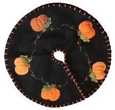 "Handmade 24"" Felt Applique Pumpkin Halloween Vine Tree Skirt Small Tabletop Size"