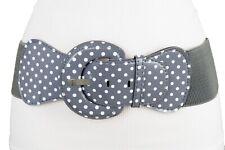 Spaß Damen Stretch Kunstleder Taille Grau Band Weiß Gepunktet Mode Gürtel M L
