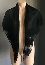 Pre-owned Sheer Mesh Net 3 Tier Shawl/Wrap/Scarf with Crochet Trim - Stunning!