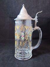"""Antique """"Zum Andenken"""" Painted Crown Mark Pressed Glass Stein with Pewter Lid"""