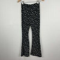 Nasty Gal Womens Pants 8 Black Stars Flared Elastic Waist