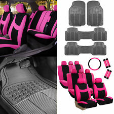 3 Row 8 Seater Pink Seat Covers for SUV Van Accesory Combo w/ Gray Floor Mats
