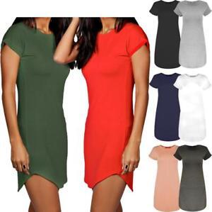 Womens Ladies Hip Length Curved Hem Roll Turn Up Sleeve T-Shirt Dress Plain