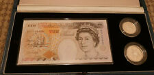 1992 Royal Mint A01 Serial £10 Note & Sterling Silver Proof 10 Pence 2 Coin Set