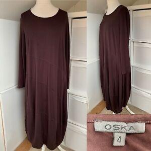 OSKA Aubergine Purple Long Dress Size 4 Soft Jersey Cocoon Balloon Hem Lagenlook