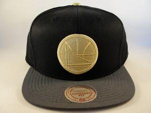 Golden State Warriors NBA Mitchell & Ness Gold Tip Snapback Hat Cap