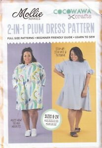 Mollie Makes Pattern for The 2-in-1 Plum Dress, Easy Beginners Sizes 6-24, New