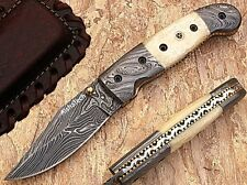 Bikers Damascus Steel Folding Knife with Bone Handle AT-1226