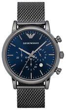 Emporio Armani AR1979 Classic Grey Gunmetal Blue Chrono Dial 46mm Men's Watch