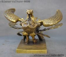 old China Feng Shui brass auspicious four God beast one of phoenix statue