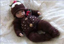 Dolls Knitting Pattern #11 TO KNIT Christmas Xmas Set Lil Pudding Reborn Dolls