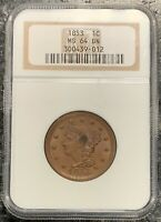 1853 U.S. BRAIDED HAIR LARGE CENT ~ NGC GRADED MS64 BN! $2.95 MAX SHIPPING!