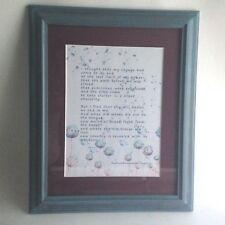 """Vintage Poem Picture Framed Rabundranath Tago Poem 17"""" X 13"""" Blue Burgundy"""