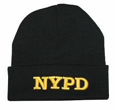NYPD Winter Hat Police Badge New York Police Department Black & Gold One Size