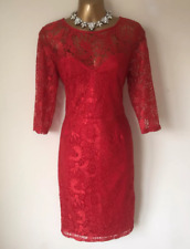 Lipsy Kardashian Red Lace Pencil Dress Size 10 Bodycon 3/4 Sleeve Party Occasion