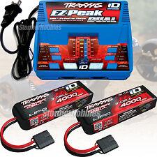 Traxxas DUAL Charger 2972 & (2) 11.1v 4000mAh LiPO Battery 2849x RUSTLER VXL