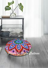 Ethnic Round Floor Cushion Cover Embroidered Suzani Bohemian 18x18 Cotton Pouffe