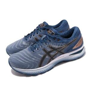 Asics Gel-Nimbus 22 2E Wide Grey Blue White Men Running Shoes 1011A685-023