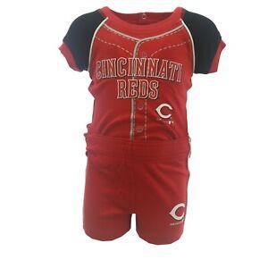 Cincinnati Reds MLB Genuine Baby Infant Creeper & Shorts 2 Piece Set New Tags