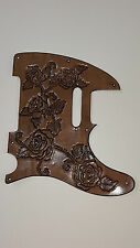 "Leather pickguard Fender Telecaster hand tooled leather""Classic Harmony roses"""