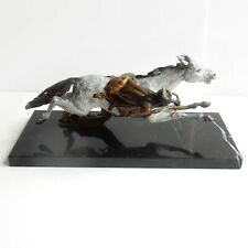 Austrian Bergman Red Indian on Galloping Horse Bronze Sculpture The Cheyenne