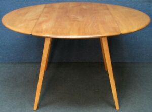 Ercol Windsor Solid Elm & Beech Drop Leaf Kitchen Or Dining Table Light Finish