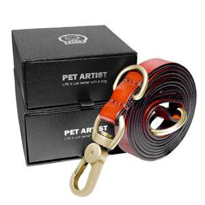 5ft/6ft Genuine Leather Dog Leash Large Pet Training P-Leash Slip Lead Collar US