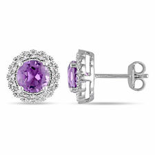 Amour Silver Amethyst and 1/10ct TDW Diamond Halo Earrings (G-H, I2-I3)