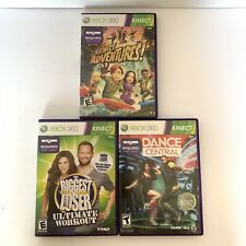 3 Xbox 360 Kinect Games Lot - Kinect Adventures, Dance Central, Biggest Loser