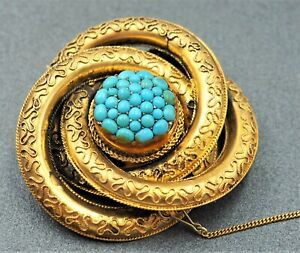 Vintage Women's 9ct Embossed Gold Turquoise Brooch Fine Collectable Jewellery