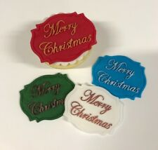 1 HAND PAINTED MERRY CHRISTMAS PLAQUE edible sugar cake decorations toppers