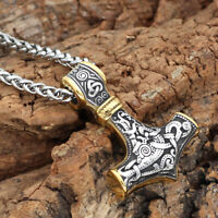 Men's Stainless Steel Gold/Silver Norse Viking Thor Hammer Pendant Necklace