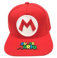 HAT SUPER MARIO LUIGI BROS RED LOGO EMBROIDERED BASEBALL CAP ADJUSTABLE SNAPBACK