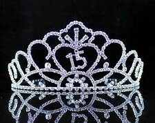 QUINCEANERA 15 FIFTEEN RHINESTONE TIARA CROWN W/ HAIR COMBS BIRTHDAY PARTY T991