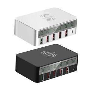 Multi-Port USB Charging Station 100W 6 Port Fast Wall Charger Wireless