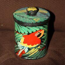 Folk Art Tin Can Parrot Hand-Painted Tramp Art Wooden Lid Vintage Tropical Jar