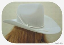 """WHITE Western COWBOY DOLL HAT fits 18"""" AMERICAN GIRL Doll Clothes Accessory"""