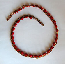 VINTAGE RED GLASS BEAD COPPER BRAIDED BEAD STRAND OLD