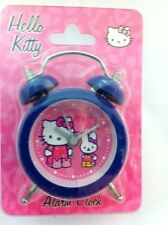 HELLO KITTY GIRLS BLUE TWIN CHIME BEDROOM BEDSIDE MINI ALARM CLOCK